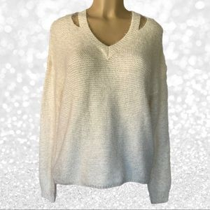 Forever 21 Cream Fuzzy Cutout Sweater NWT